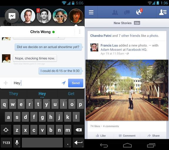 Facebook App and Messenger for Android updated in the Play Store