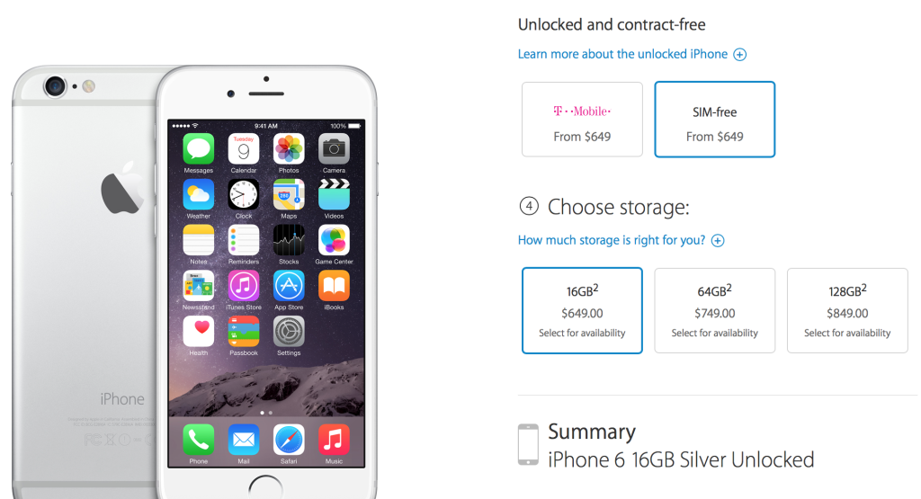 Unlocked iPhone 6 and 6 Plus SIM-free Is Now Available In The US