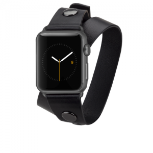 REBECCA MINKOFF DOUBLE WRAP LEATHER BAND APPLE WATCH - BLACK